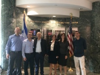Yariv Bash and Daniel Saat (SpaceIL founders), Victor Hadad (Emek Board Member), Mazal Hadad, and accompanying members of Bnei Akiva