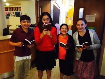 L-R Jacob Feitelberg, Ella Keller and Noa Segal of Hillel Hebrew Academy