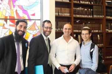 Rabbi Arye Sufrin, Rabbi Dovid Edelstein, Sgt Benjamin Anthony and YULA Junior Jordan Lustman