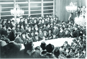 rebbe--At a farbrengen with the Rebbe in 1968