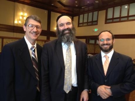 Dr. William Stohl, son-in-law of Rabbi Simon, Rabbi Mayer Twersky, scholar-in-residence, and Rabbi Adir Posy, Associate Rabbi of Beth Jacob congregation, a student of Rabbi Twersky, and a grandson-in-law of Rabbi Simon