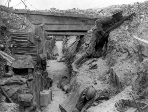 A German trench being occupied by the British during the 1916 Battle of the Somme