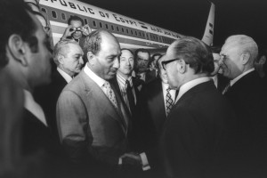 Greeting Egyptian President Anwar Sadat on his historic visit to the Knesset