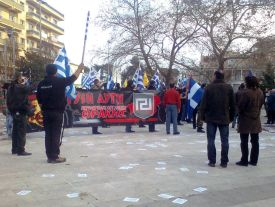 Members of the Golden Dawn Party marching in Greece