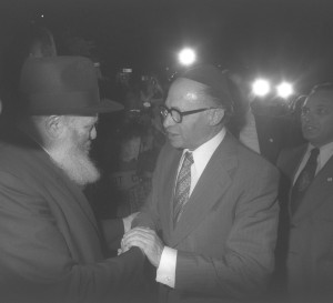 The Lubavitcher Rebbe greeting Prime Minister Begin, 1977