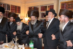 (3rd from L) Reb Berel Weiss host of LA melava malka dances with Sadigur Rebbe