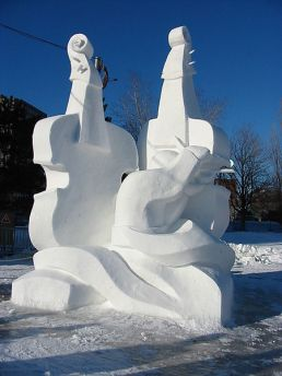 winterlude violin snow sculpture