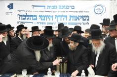 Sanzer Rebbe greeting HaRav Aharon Leib Shteiman