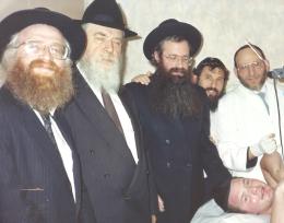 Rabbi Gruman Rabbi Malkiel Kotler and Rabbi Estulin at one of the Brissim