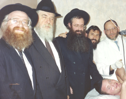 Rabbi Gruman Rabbi Malkiel Kotler and Rabbi Estulin at one of the Brissim