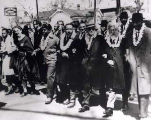 Rabbi Heschel, second from right at the Selma - Montgomery march
