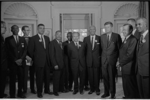 Rabbi Joachim Prinz, center, among other Civil Rights leaders meeting with President Kennedy