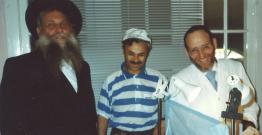 Rabbi Shimon Raichik and Rabbi Shechet at one of the Brissim