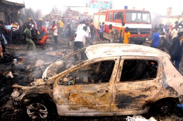 The aftermath of a suicide attack in Nigeria by Boko Haram