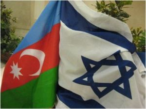 The Azerbaijan and Israeli flags on display at the welcome for an Israeli delegation to Azerbaijan, Israel's largest supplier of oil