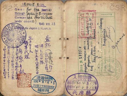 One of the visas issued by Chiune Suguhara