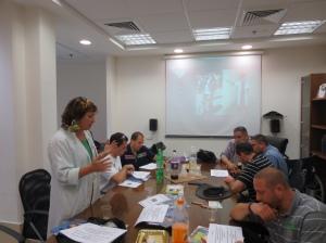 Lydia Lanxner speaking before Group of European First Responders