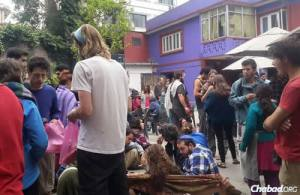 Israeli tourists at the Chabad House in Nepal