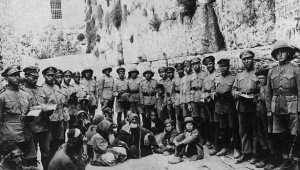 Jewish Legion soldiers at the Western Wall after British conquest, 1917