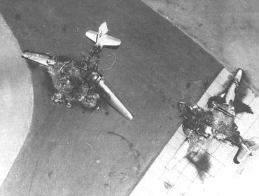 Destroyed Egyptian planes. Most of the Egyptian Airforce was out of commision following the first day of the six day war
