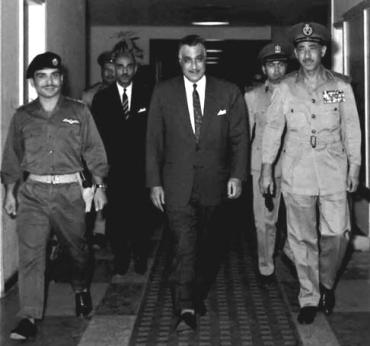 King Hussein of Jordan, President Nasser of Egypt and Egyptian Army Chief of Staff Abdel Hakim Amer prior to signing the the joint Egyptian-Jordanian-Iraqi defense pact