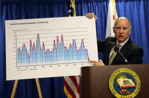 California Gov. Jerry Brown declaring a drought emergency. Justin Sullivan - Getty Images
