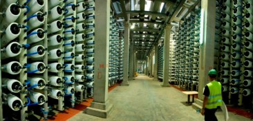 Inside a water desalination in Hadera, Israel
