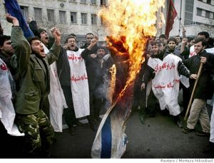 Burning the Israeli flag during a recent demonstration