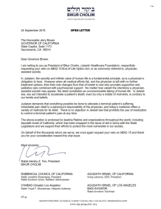 Bikur Cholim Veto Request to Governor Jerry Brown