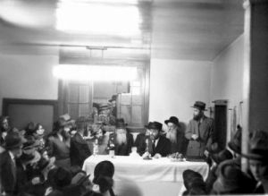 The Rebbe holding a farbrengen in the early years of his leadership, 1950's