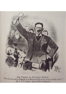 This satirical cartoon of Trebitsch's first speech in the House of Commons appeared in the widely read Punch magazine in 1910. The main focus of attention was his heavy Hungarian accent