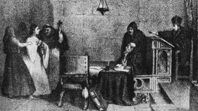 inquisition hearing. Engraving by artist Constantino Escalante