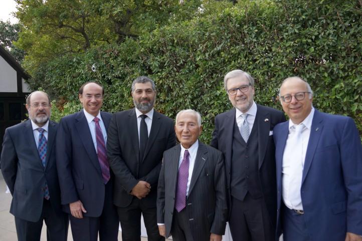 Mr Joe Kornwasser, Sol Teichman, Sol Goldner, Victor Hadad with Zvi Yechezkeli and Urie Lieberman