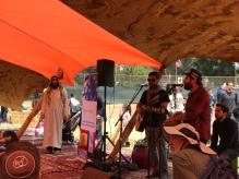 Yehuda Solomon and Duvid Swirsky of Moshav Band and Rabbi Yona Bookstein of the Pico Shul at the Shabbat Tent