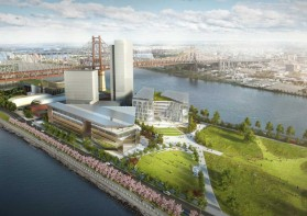 Artist's rendering of the Cornell-Technion high tech campus off Roosevelt Island in NYC