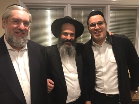 L-R Rabbi Pinchos Lipschutz Editor of the Yated Ne'eman championing Sholom's cause from the beginning, Sholom, singer Yaakov Schwekey who had visited Sholom in prison and composed a song in his honor