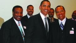 Obama, then a senator, smiling next to Farrakhan