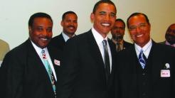 Obama, then a senator, smiling next to Farrakhan