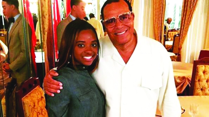 Tamika Mallory with Farrakhan. She posted this picture on Instagram with the message, 'Thank G-d this man is still alive and doing well. He is definitely the GOAT.'
