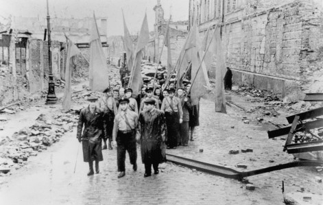 survivors of the Warsaw Ghetto marching on the 4 year anniversary